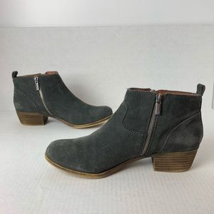 Lucky Brand Gray Suede Booties Basel Double Zipper